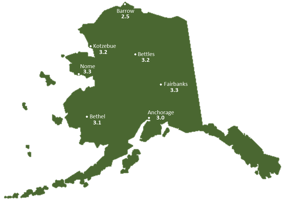 Alaska Sun Light Hours Map