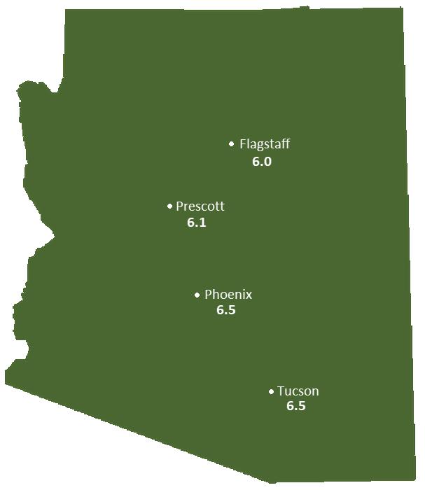 Arizona Sun Light Hours Map