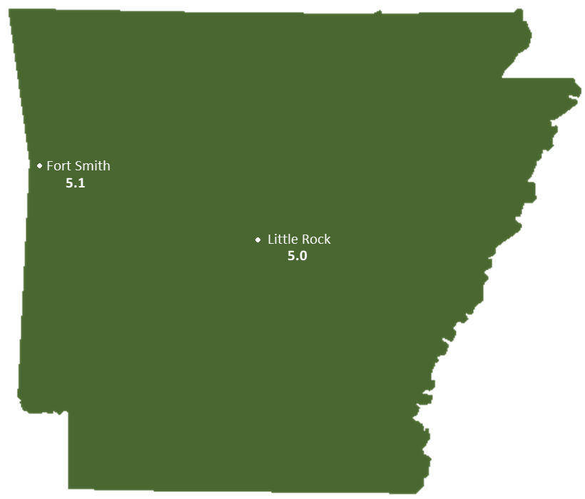 Arkansas Sun Light Hours Map