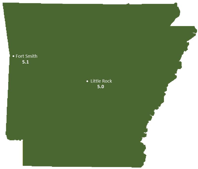 Arkansas Sun Light Hours Map