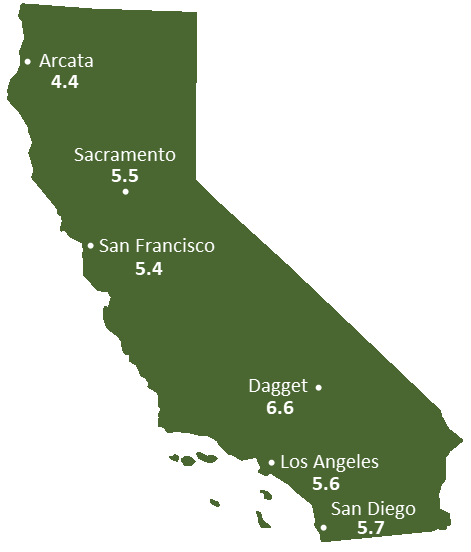 California Sun Light Hours Map