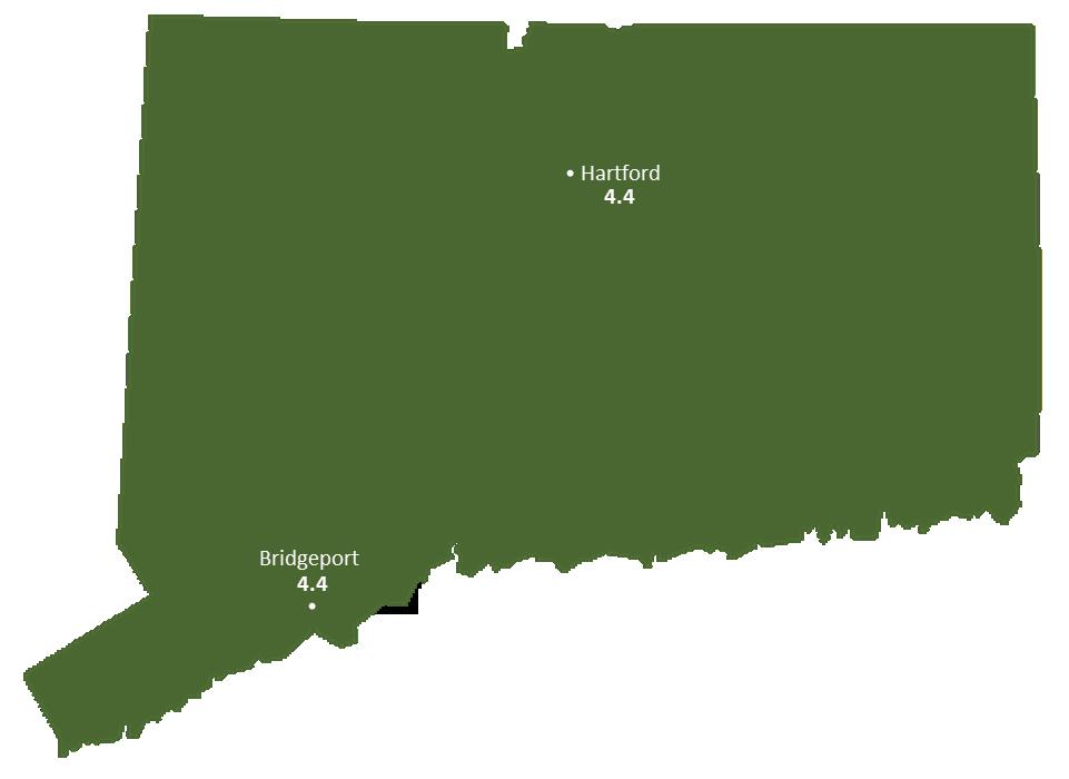 Connecticut Sun Light Hours Map