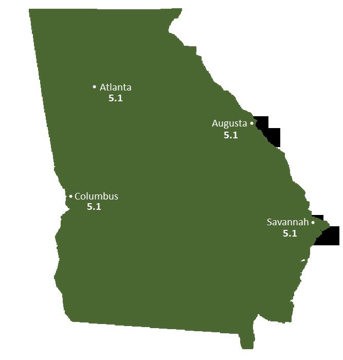 Georgia Sun Light Hours Map