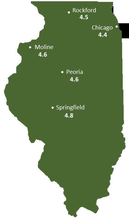 Illinois Sun Light Hours Map