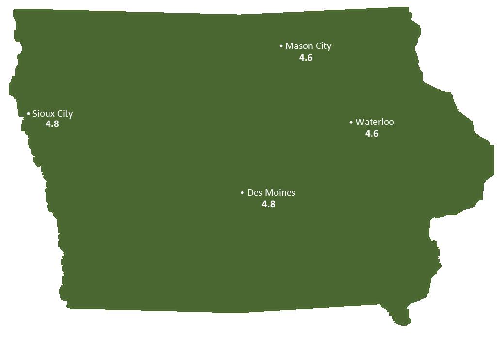 Iowa Sun Light Hours Map