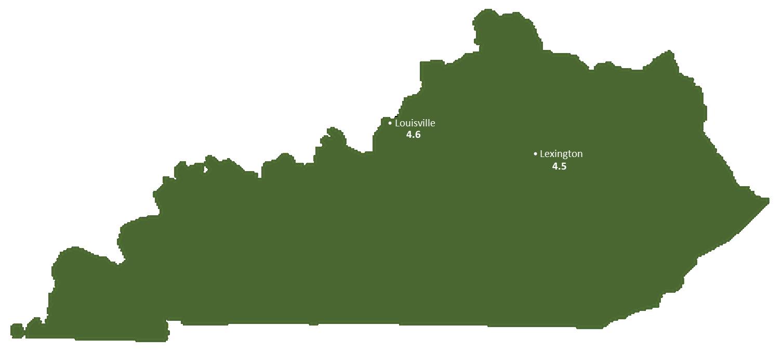 Kentucky Sun Light Hours Map