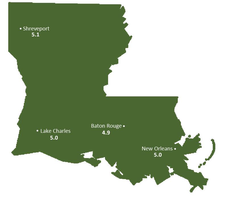 Louisiana Sun Light Hours Map