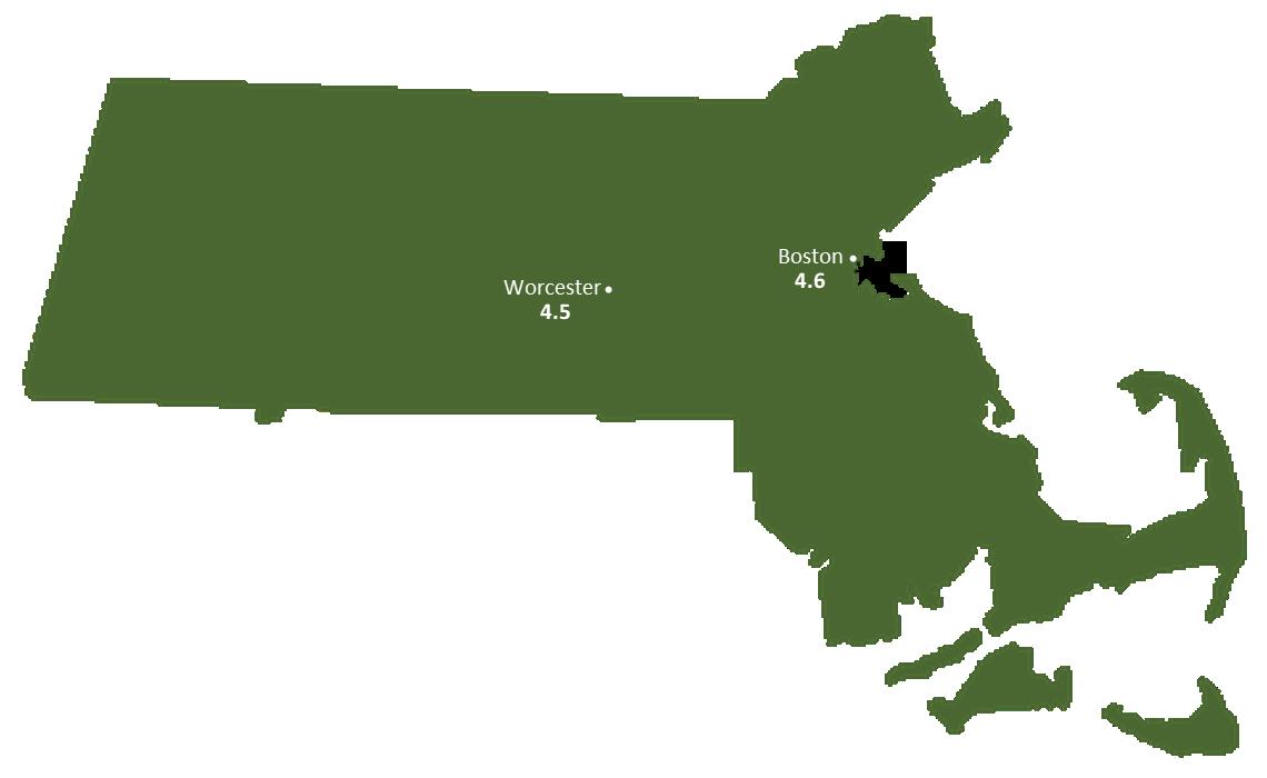 Massachusetts Sun Light Hours Map