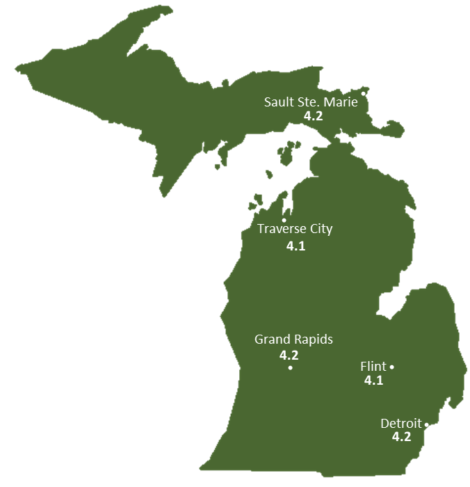 Michigan Sun Light Hours Map