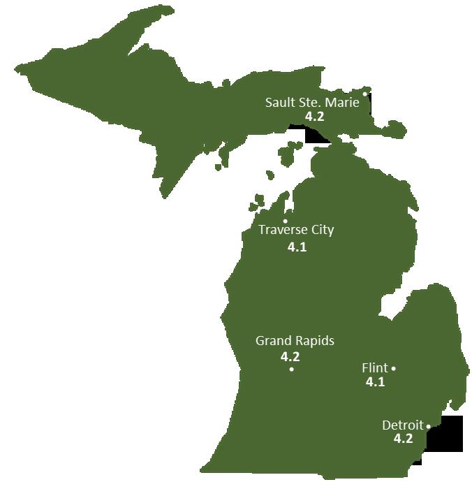 Michigan Sun Light Hours Map