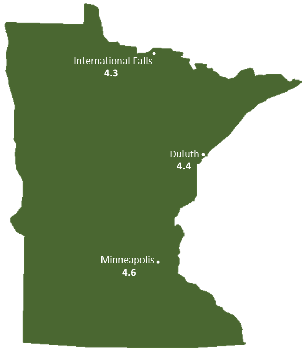 Minnesota Sun Light Hours Map