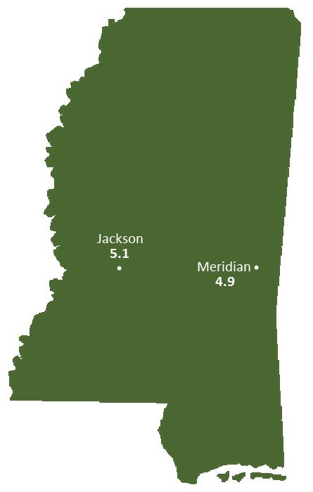 Mississippi Sun Light Hours Map