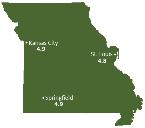 Missouri Sun Light Hours Map