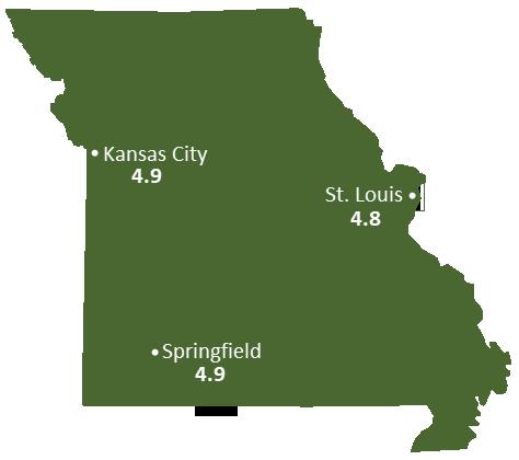 Missouri Sun Light Hours Map