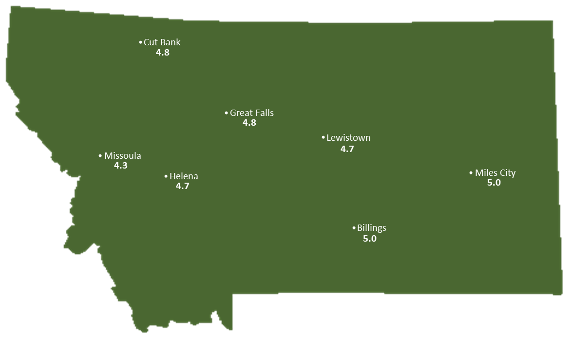 Montana Sun Light Hours Map