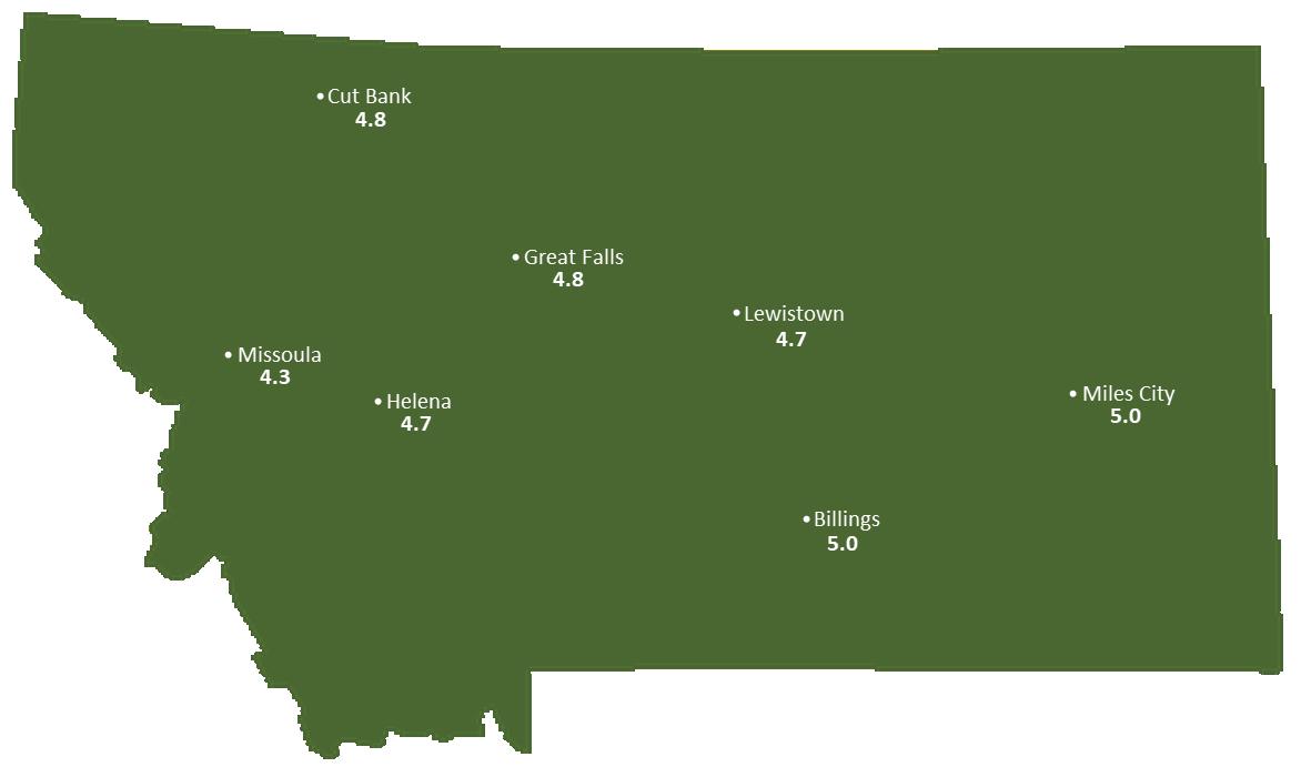Montana Sun Light Hours Map