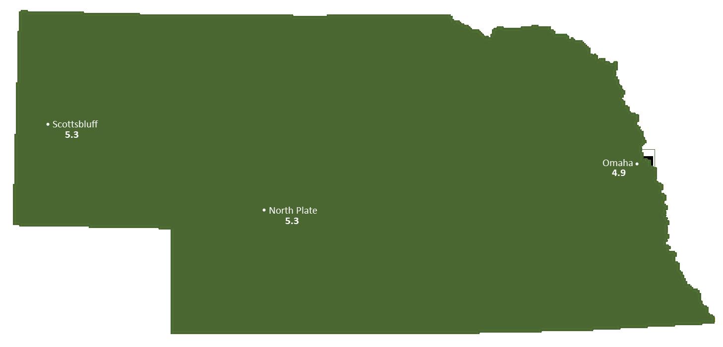 Nebraska Sun Light Hours Map