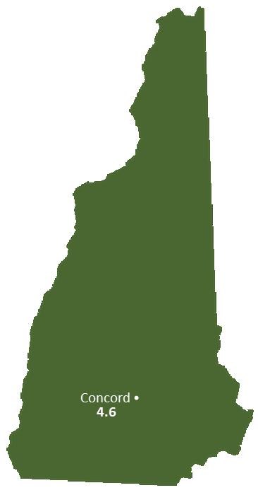 New Hampshire Sun Light Hours Map