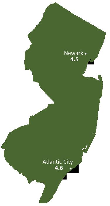 New Jersey Sun Light Hours Map