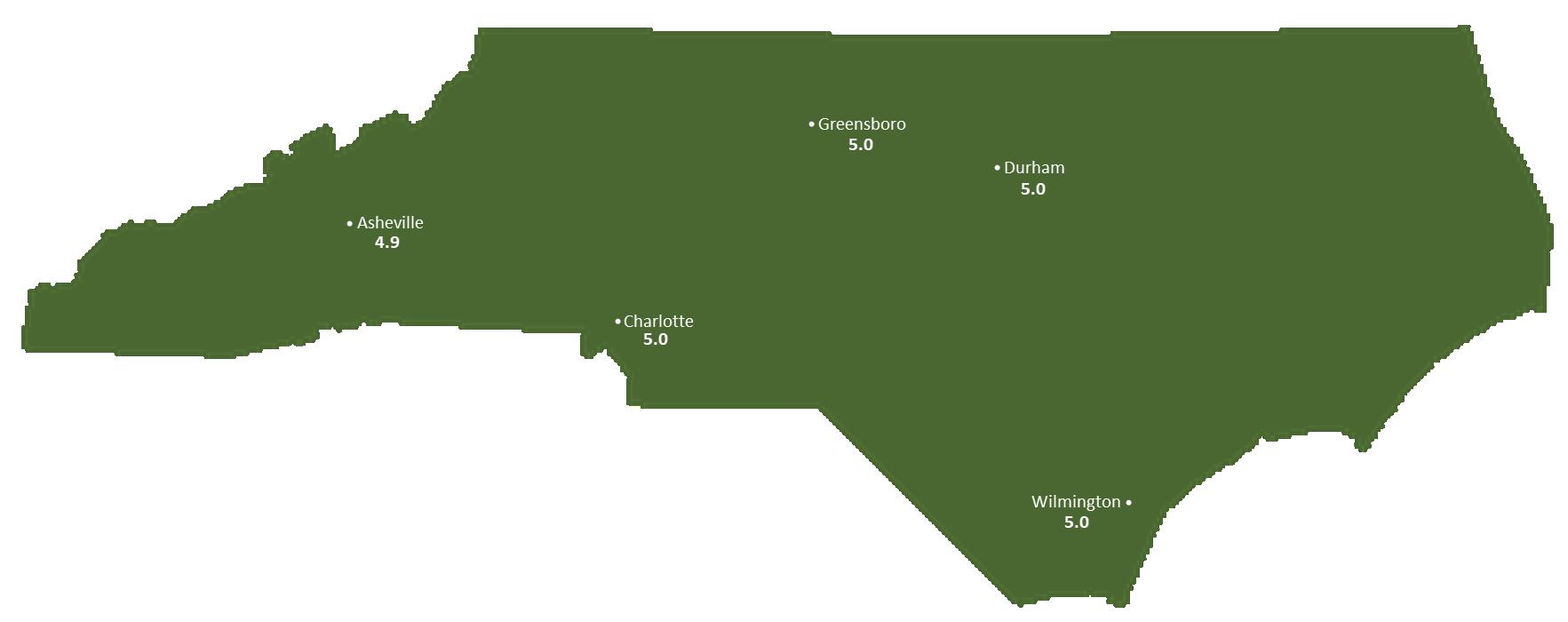 North Carolina Sun Light Hours Map
