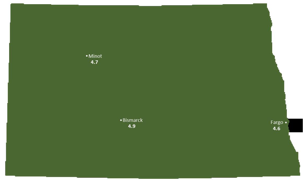 North Dakota Sun Light Hours Map