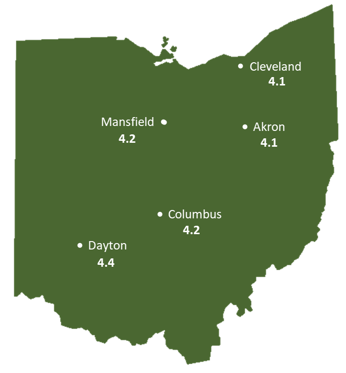 Ohio Sun Light Hours Map