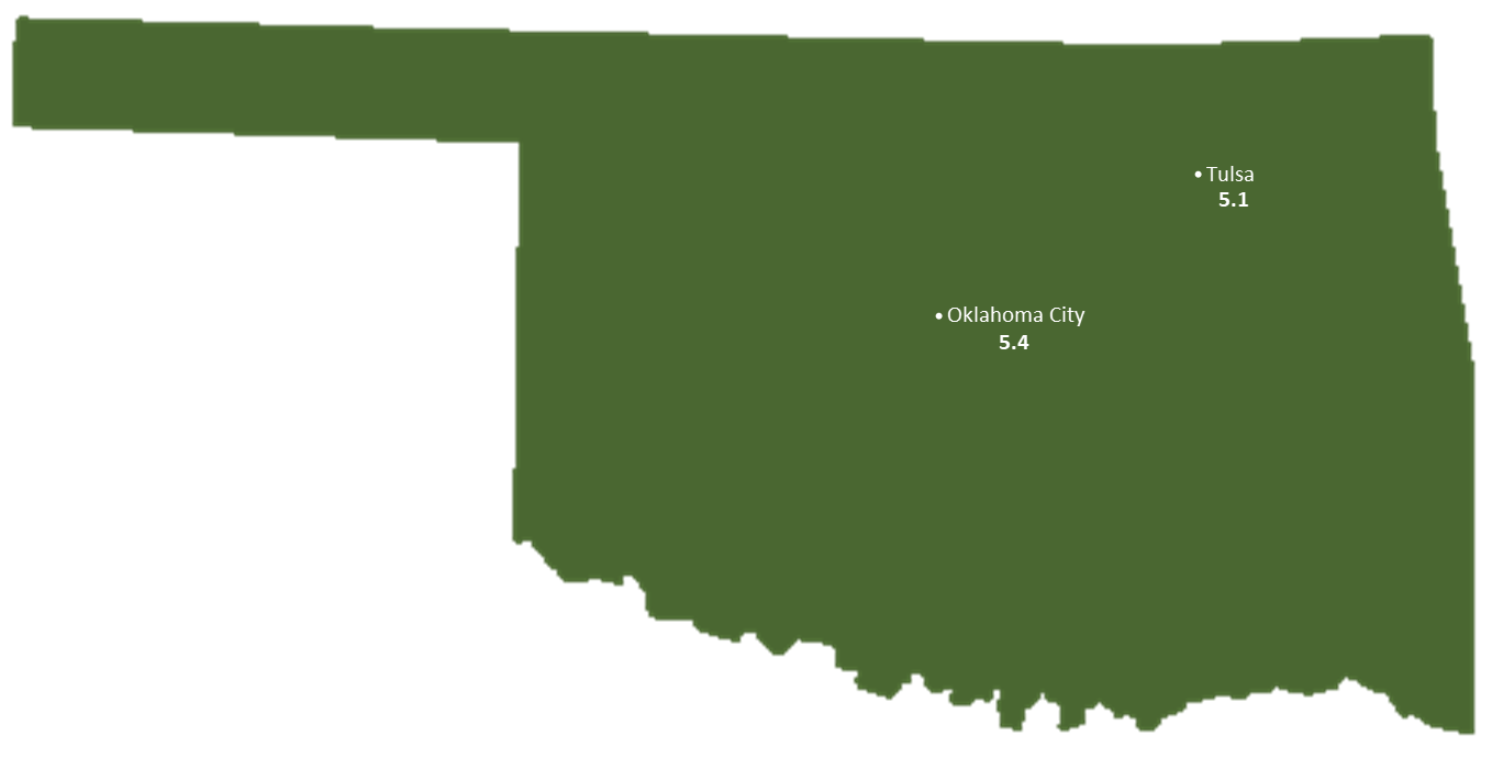 Oklahoma Sun Light Hours Map