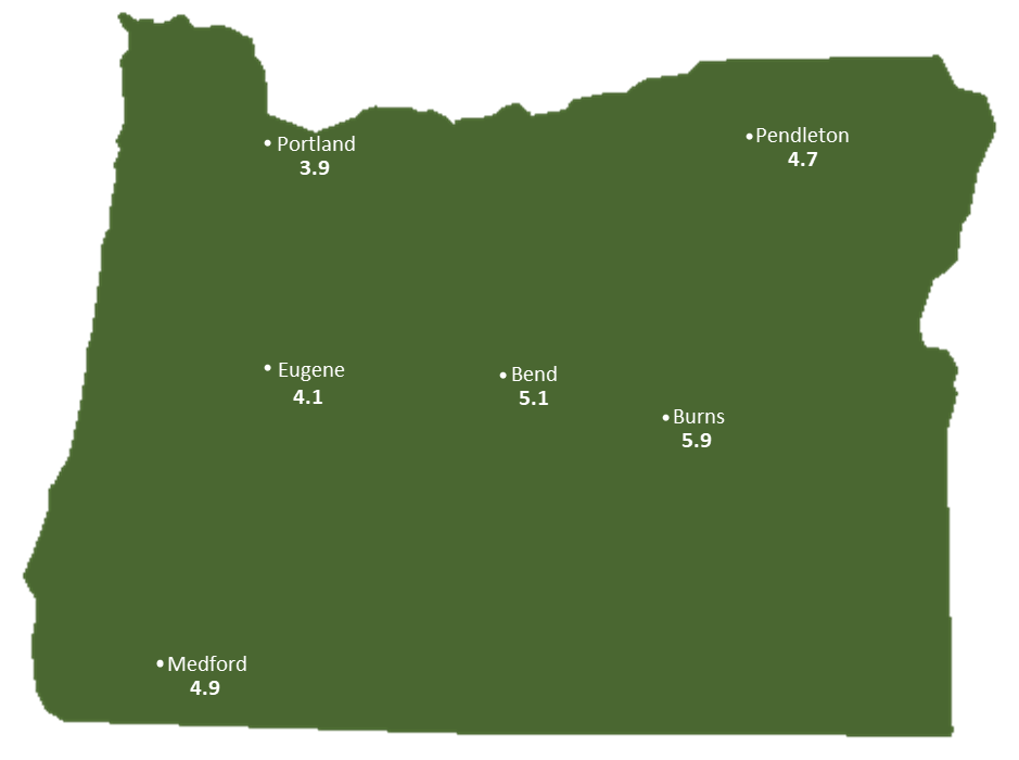 Oregon Sun Light Hours Map