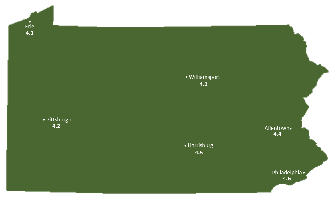 Pennslyvania Sun Light Hours Map