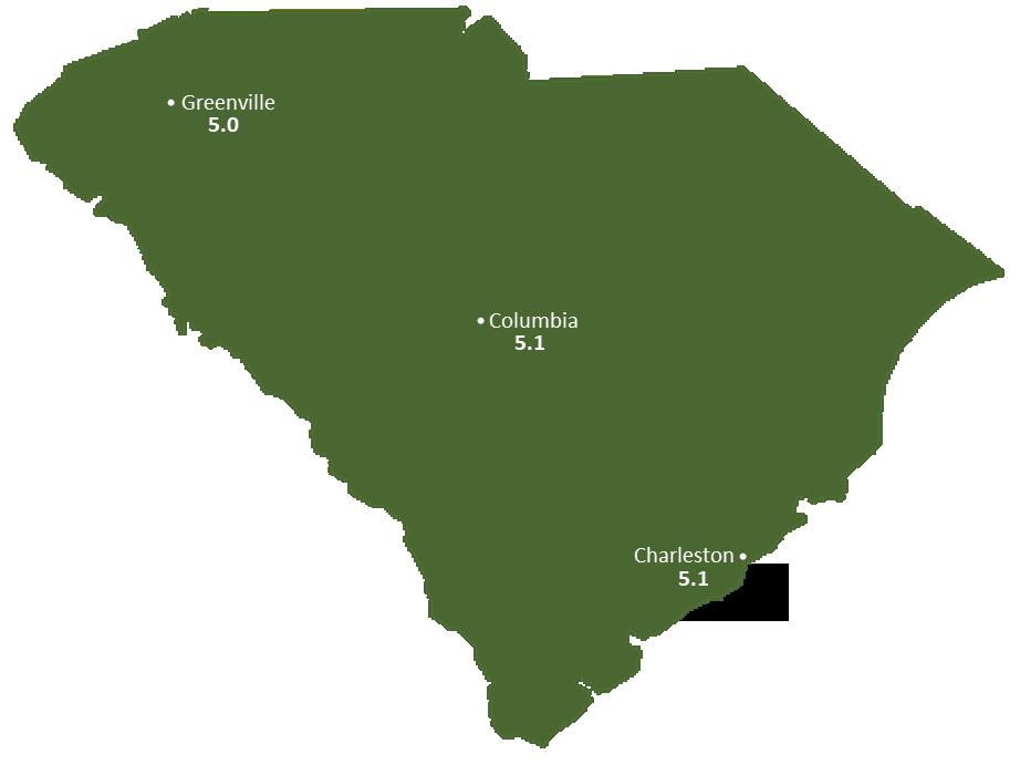 South Carolina Sun Light Hours Map
