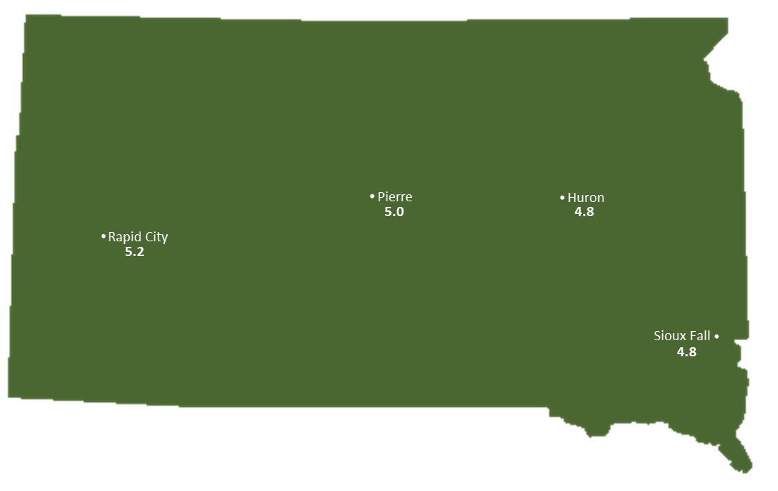 South Dakota Sun Light Hours Map