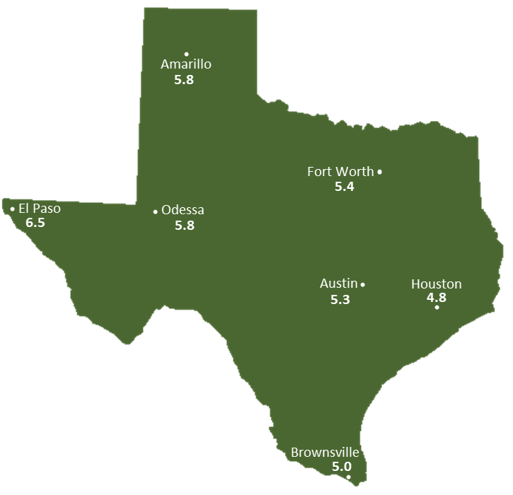 Texas Sun Light Hours Map