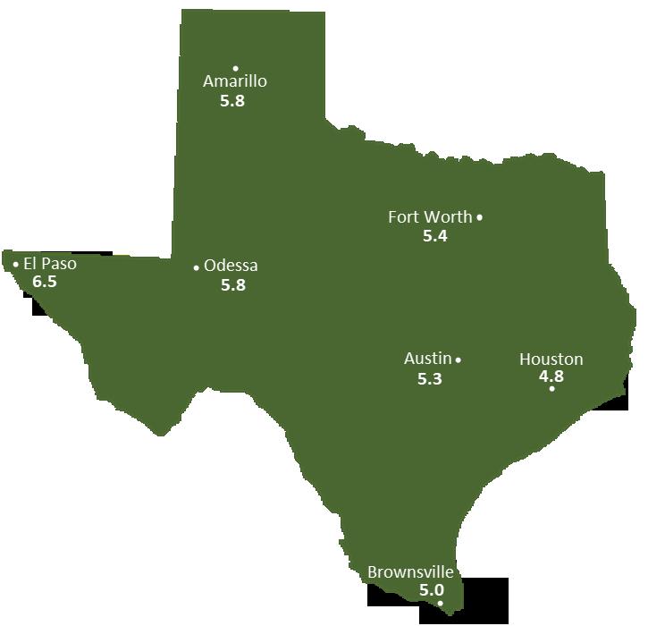 Texas Sun Light Hours Map