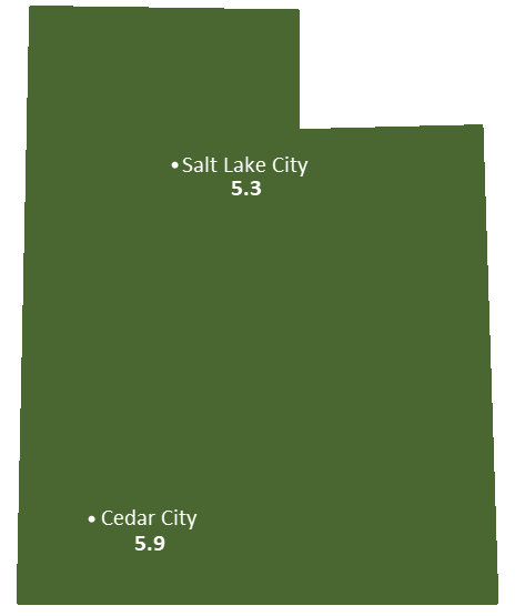 Utah Sun Light Hours Map
