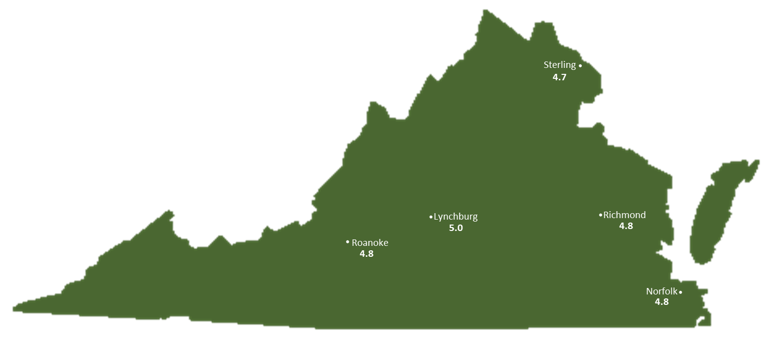 Virginia Sun Light Hours Map