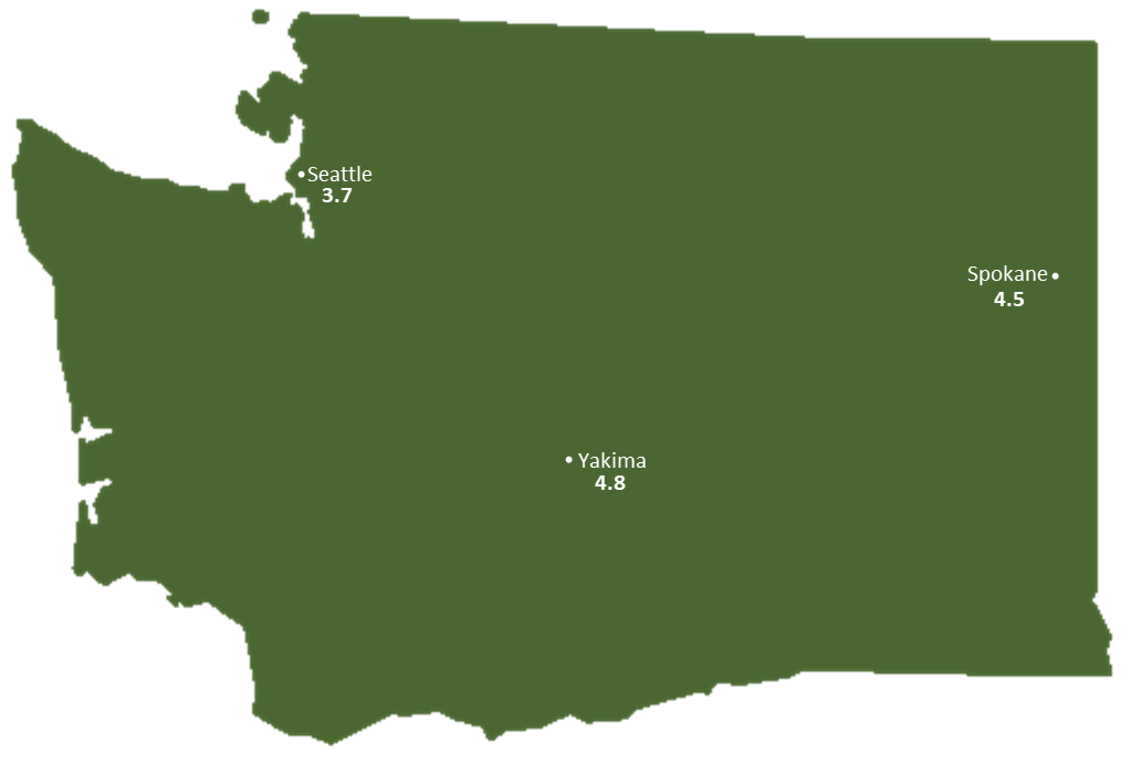 Washington Sun Light Hours Map