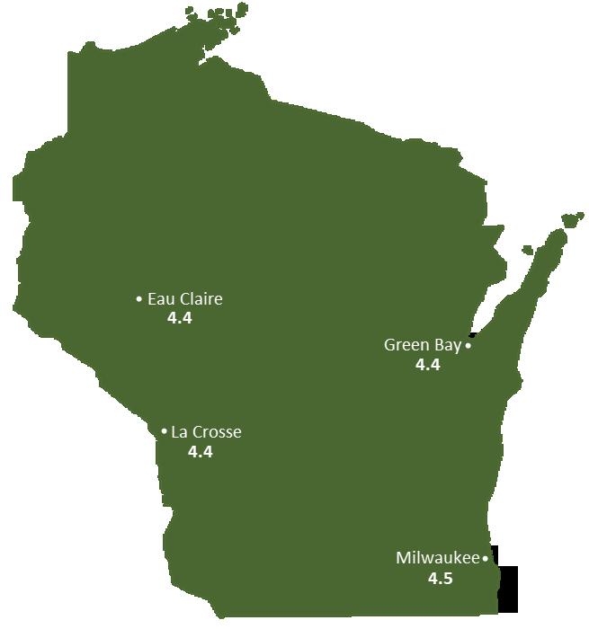 Wisconsin Sun Light Hours Map