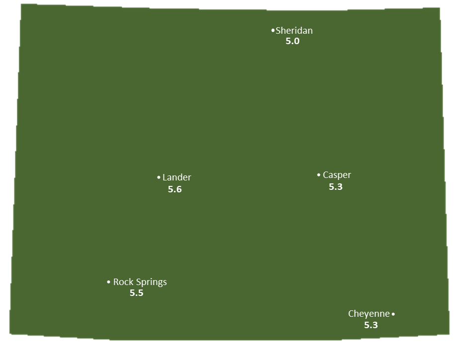 Wyoming Sun Light Hours Map